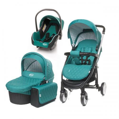 4Baby ATOMIC 3 in 1 Dark Turquoise - Carucior bebe - Carucioare 3 in 1