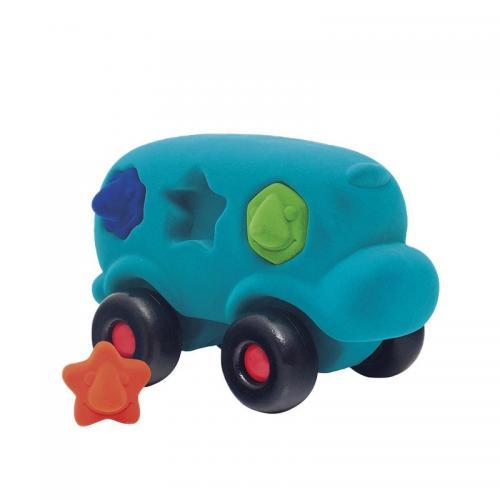 Autobuz interactiv sortator de forme - din cauciuc natural - turcoaz - 1an + Rubbabu - Jucarii copilasi - Avioane jucarie