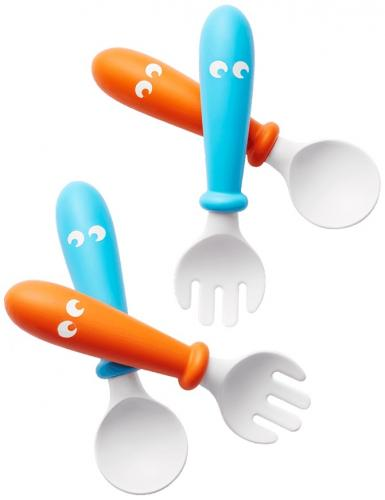 Babybjorn – set lingurite si furculite pentru bebelusi (4 bucati) - orange/turquoise - Hrana bebelusi - Accesorii alimentare