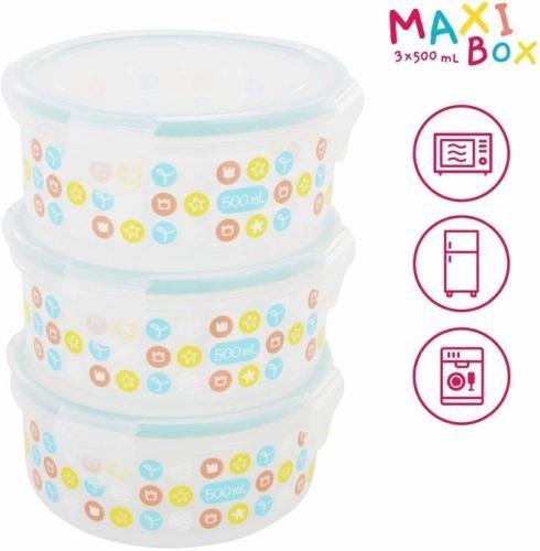 Badabulle - Set 3 boluri ermetice Maxi 500 ml pentru pastrarea hranei - Hrana bebelusi - Accesorii alimentare