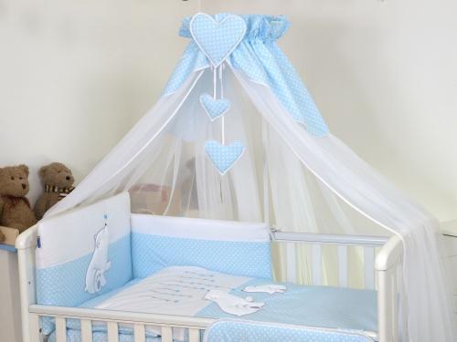 Baldachin din tul pentru patut bebe bear heart blue - 160 x 600 cm - Camera bebelusului - Baldachin