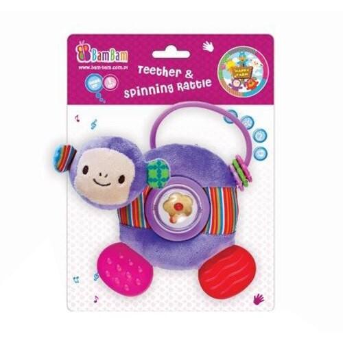 BamBam jucarie de plus cu inel gingival si zornaitoare - maimutica - Jucarii copilasi - Jucarii educative bebe