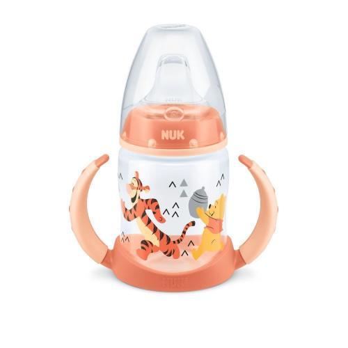 Biberon Nuk First Choice 150ml Cu Toarte Si Adaptor Din Silicon Orange Disney 6 luni+ - Hrana bebelusi - Biberoane