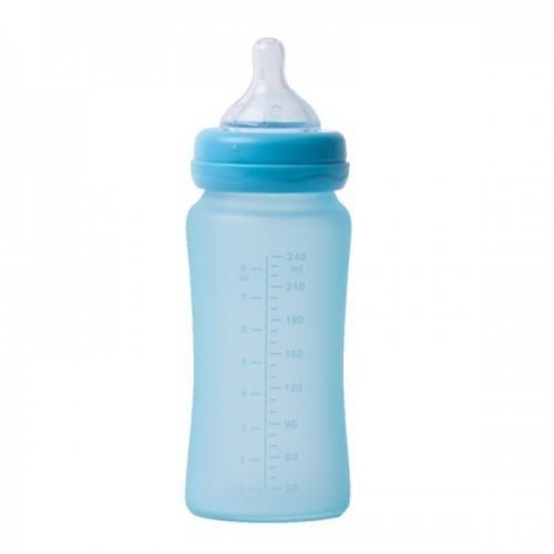 Biberon termo din sticla acoperita de silicon cu indicator de temperatura Bo Jungle 300 ml albastru - Igiena ingrijire -