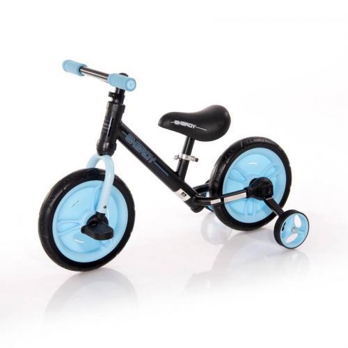 Bicicleta energy - cu pedale si roti ajutatoare - blue - Plimbare bebe - Bicicleta copii