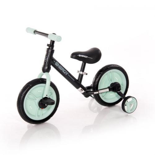 Bicicleta energy - cu pedale si roti ajutatoare - green - Plimbare bebe - Bicicleta copii