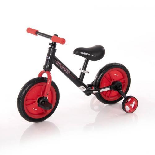 Bicicleta energy - cu pedale si roti ajutatoare - red - Plimbare bebe - Bicicleta copii