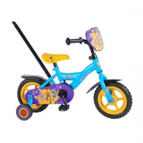 Bicicleta pentru baieti Volare Toy Story 4 91007 10 inch cu roti ajutatoare si maner control parinte - Plimbare bebe - Bicicleta copii