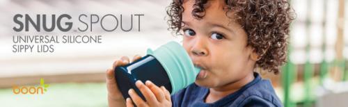 BOON - Snug Spout set cu pahar si 3 capace de silicon cu cioc - anistropire - Hrana bebelusi - Accesorii alimentare