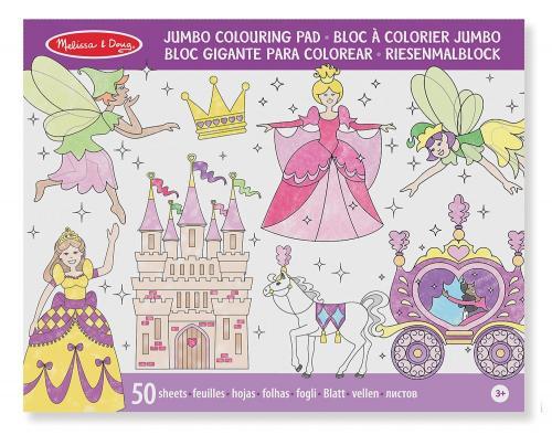 Caiet jumbo cu desene pentru colorat Printese si zane Melissa and Doug - Jucarii copilasi - Arta indemanare