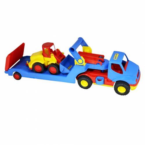 Camion cu platforma si excavator - Wader - Jucarii copilasi - Avioane jucarie