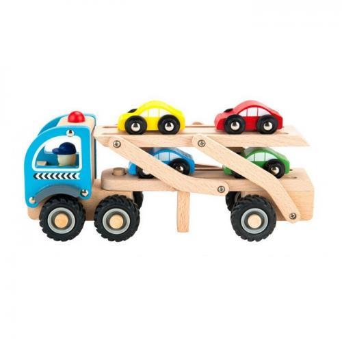 Camion trailer cu 4 masini din lemn ecotoys tl26046 - Jucarii Montessori -