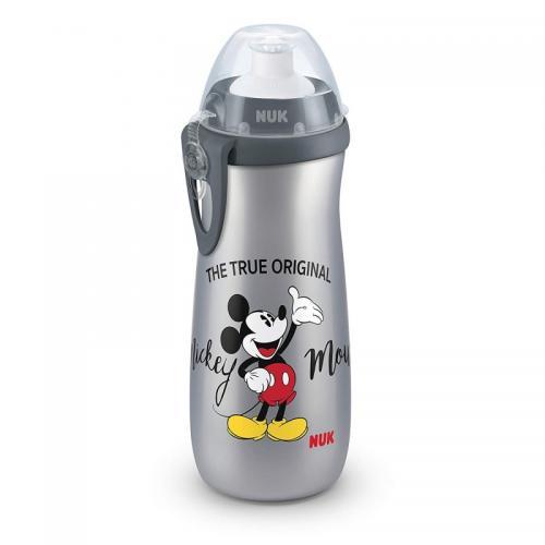 Cana Nuk Sport Mickey Gri 450 Ml + Adaptor Push-Pull - Hrana bebelusi - Biberoane