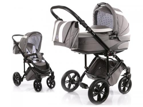 Carucior Copii 2 In 1 Cu Landou Mykids Volkswagen Carbon Optik Grey - Carucior bebe -