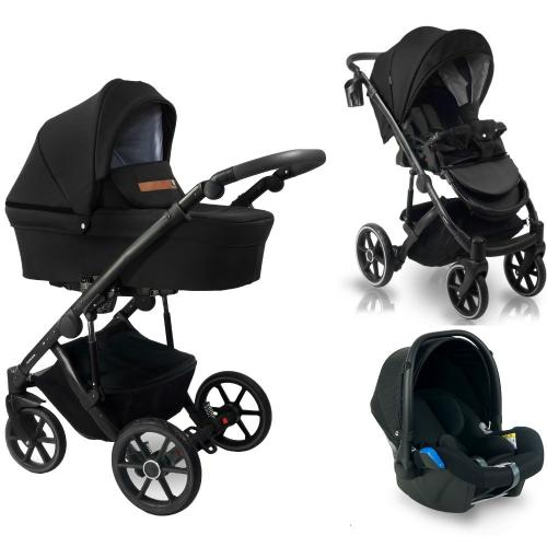 Carucior copii 3 in 1 - reversibil - 0-36 luni - bexa line black - Carucior bebe - Carucioare 3 in 1