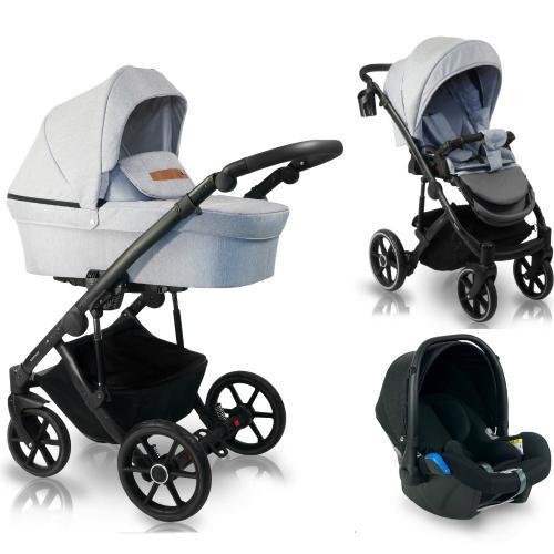 Carucior copii 3 in 1 - reversibil - 0-36 luni - bexa line light grey - Carucior bebe - Carucioare 3 in 1