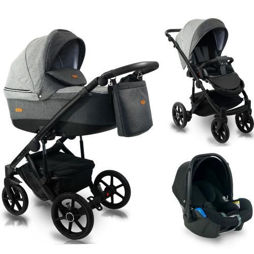 Carucior copii 3 in 1 - reversibil - 0-36 luni - bexa ultra 20 dark grey - Carucior bebe -