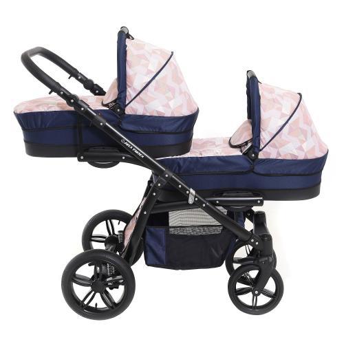 Carucior copii gemeni tandem 3 in 1 - pj stroller lux - cube - Carucior bebe - Carucioare gemeni
