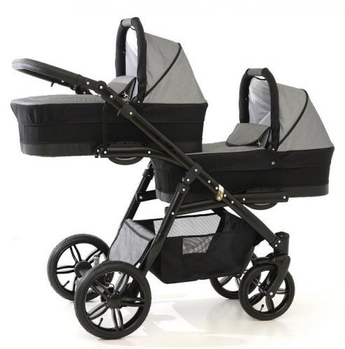 Carucior copii gemeni tandem 3 in 1 - pj stroller lux - grey - Carucior bebe - Carucioare gemeni