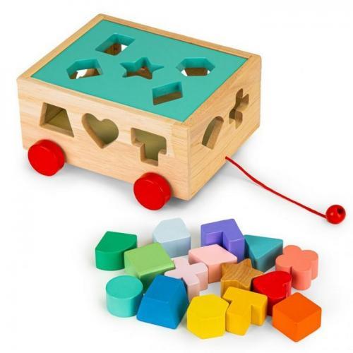 Carucior educational cu blocuri din lemn ecotoys hm015197 - Jucarii Montessori -