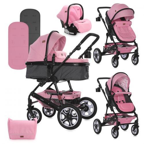 Carucior lora set - pink - Carucior bebe - Carucioare 3 in 1