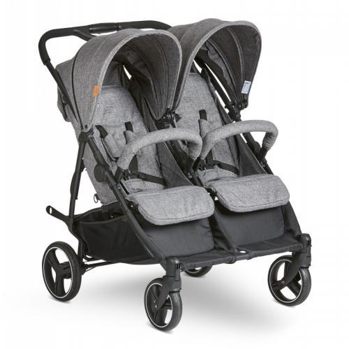 Carucior pentru gemeni Twin woven-grey Abc Design 2021 - Carucior bebe - Carucioare gemeni