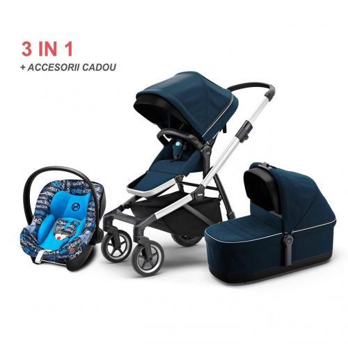 Carucior Thule SLEEK Navy Blue 3 in 1 - cu scaun auto - landou si alte accesorii CADOU - Carucior bebe - Carucioare 3 in 1