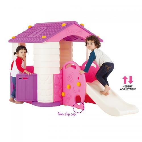 Casuta copii 2 in 1 deluxe cu tobogan Edu Play Violet - Jucarii exterior - Casuta copii