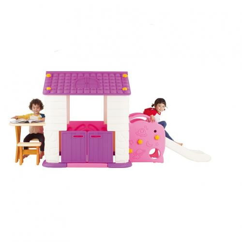 Casuta copii 3 in 1 deluxe cu tobogan masuta si bancute Edu Play Violet - Jucarii exterior - Casuta copii
