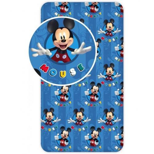 Cearsaf de pat cu elastic Mickey Blue 90x200 cm SunCity BRM005389 - Camera bebelusului - Lenjerii patut
