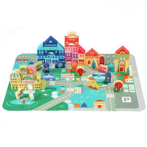 Centru de activitate orasel educational cu blocuri din lemn 120 piese ecotoys ma426 - Jucarii Montessori -