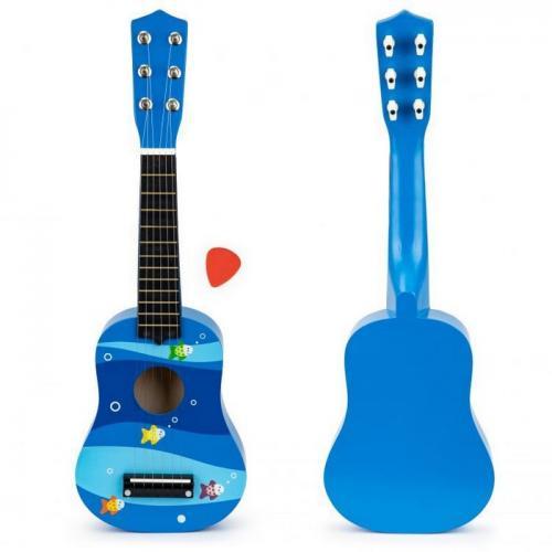 Chitara din lemn pentru copii cu corzi metalice ecotoys f018blue - Jucarii bebelusi - Jucarie muzicala