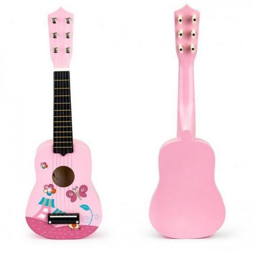 Chitara din lemn pentru copii cu corzi metalice ecotoys f018pink - Jucarii bebelusi - Jucarie muzicala