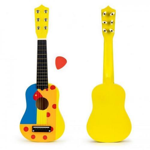 Chitara din lemn pentru copii cu corzi metalice ecotoys f018yellow - Jucarii bebelusi - Jucarie muzicala
