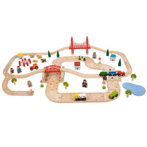 Circuit Auto Si Feroviar (80 Piese) - Jucarii copilasi - Jucarii educative bebe