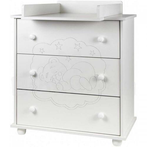 Comoda bebelusi cu rama de infasat detasabila - drewex bear & butterfly - white - Camera bebelusului -