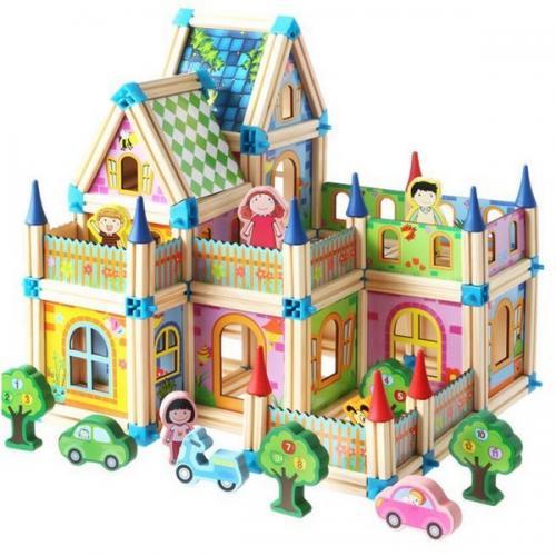 Constructie din lemn tip casuta - castel ecotoys cl024 - 6 in 1 - multicolor - Jucarii Montessori -
