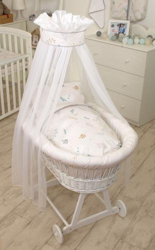 Cos bebe cu suport pe roti - saltea - lenjerie si baldachin - airy beige - Camera bebelusului - Patut copii