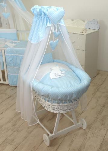 Cos bebe cu suport pe roti - saltea - lenjerie si baldachin - bear heart blue - Camera bebelusului - Patut copii