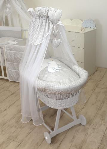 Cos bebe cu suport pe roti - saltea - lenjerie si baldachin - bear heart grey - Camera bebelusului - Patut copii