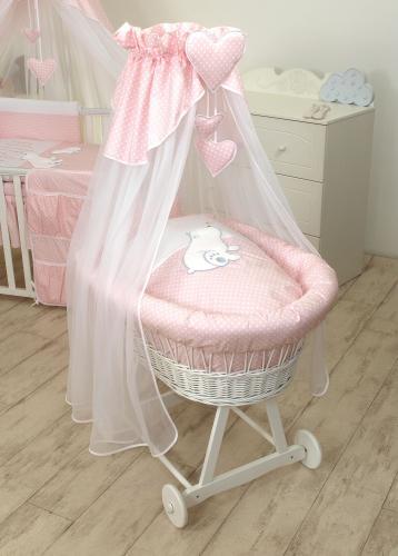 Cos bebe cu suport pe roti - saltea - lenjerie si baldachin - bear heart pink - Camera bebelusului - Patut copii