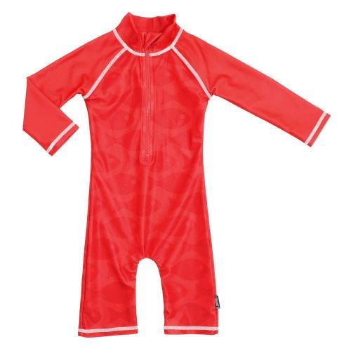 Costum de baie Fish Red marime 74- 80 protectie UV Swimpy - Plimbare bebe -