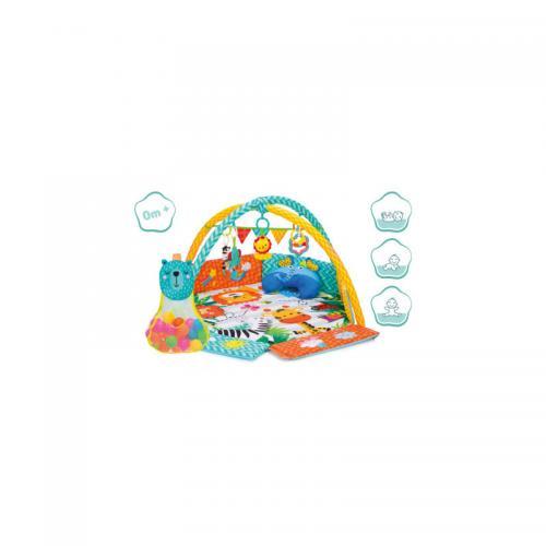 Covoras de joaca cu activitati - Jungla - 120x120 cm Fillikid - Camera bebelusului - Saltea de joaca