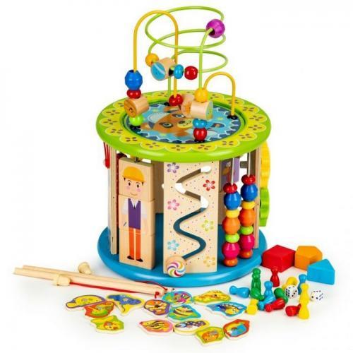 Cub educational din lemn cu jocuri - blocuri si pescuit ecotoys hm175920 - Jucarii Montessori -