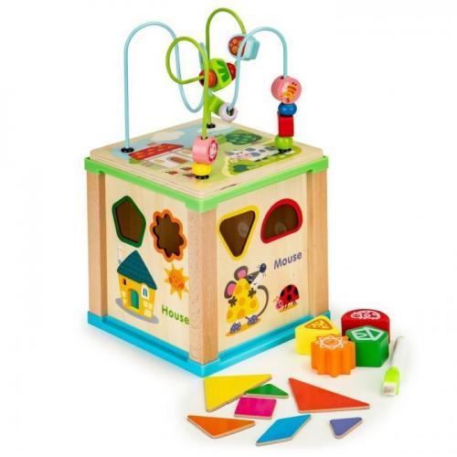 Cub educational din lemn cu tabla ecotoys hm015470 - Jucarii Montessori -