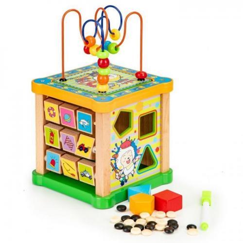 Cub educational din lemn cu tabla ecotoys hm015473 - Jucarii Montessori -