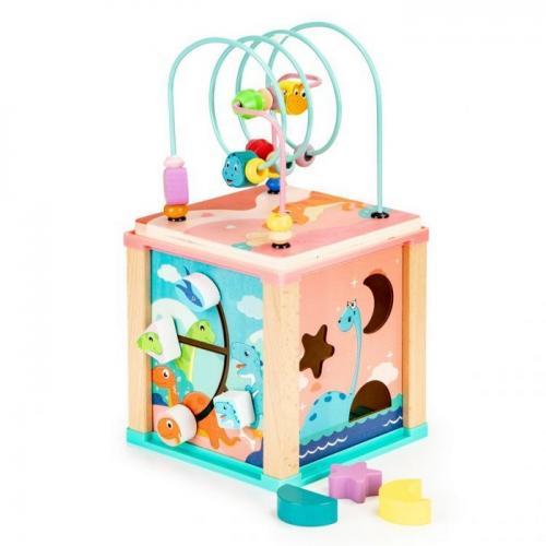 Cub educational din lemn ecotoys dino hm015471 - Jucarii Montessori -