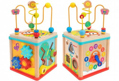 Cub educational multiactivitati Globo din lemn 16 cm - Jucarii copilasi - Jucarii educative bebe
