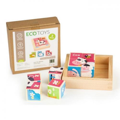 Cuburi educationale din lemn tip puzzle zoo ecotoys ma443 - Jucarii Montessori -
