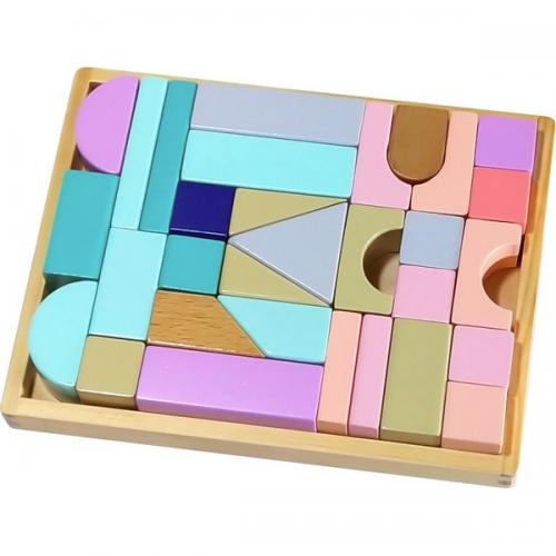 Cuburi multicolore din lemn ecotoys cu suport tip tava - Jucarii Montessori -